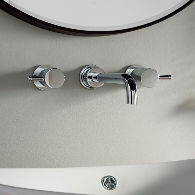 Serin Wall Mounted Bathroom Faucet With Double Lever Handles