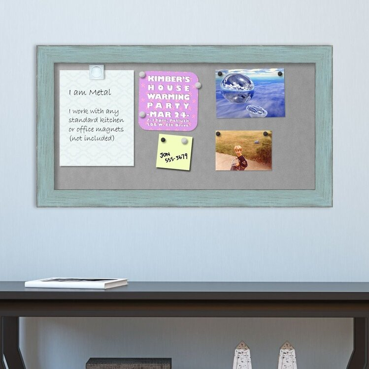 August Grove Rustic Framed Magnetic Bulletin Board