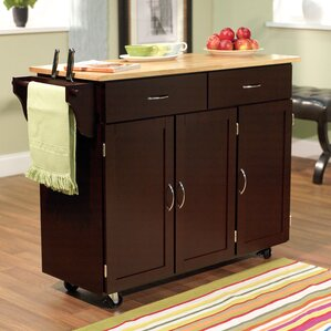 Sayers Kitchen Island With Wood Top