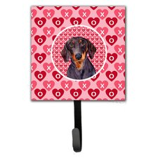 Dachshund Valentine's Love and Hearts Leash Holder and Wall Hook by Caroline's Treasures