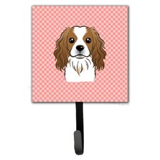 Checkerboard Cavalier Spaniel Leash Holder and Wall Hook by Caroline's Treasures