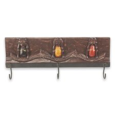 Three Wise Monkeys II Artisan Crafted Wood and Aluminum Coat Rack by Novica