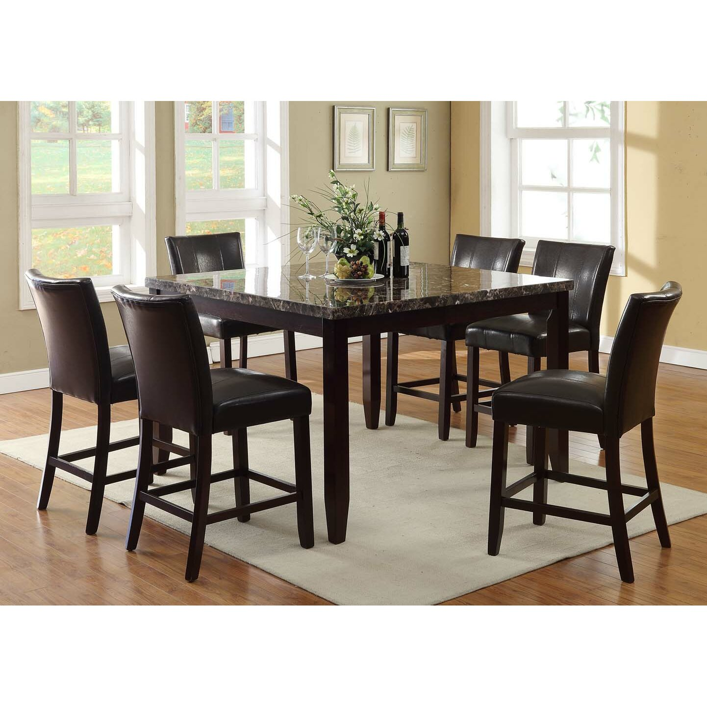 Living In Style Harvard 7 Piece Counter Height Dining Set ...