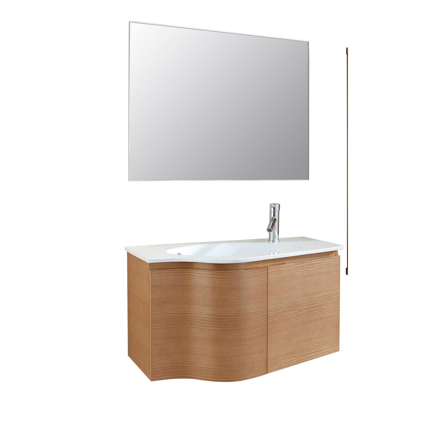 Floating bathroom vanities - Roselle 35 Single Floating Bathroom Vanity Set With Ceramic Top And Mirror