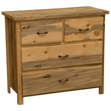 Blue Stain Pine Low Boy 4 Drawer Dresser by Fireside Lodge