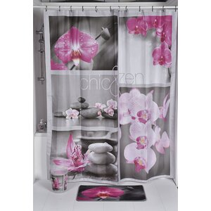 Chic and Zen Printed Shower Curtain Evideco