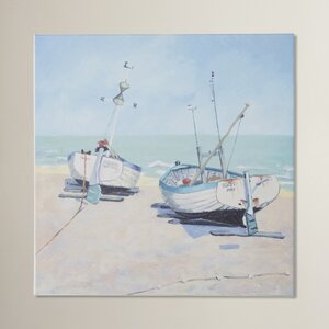 'Two Moored Boats' by Jane Hewlett Wall art on Canvas
