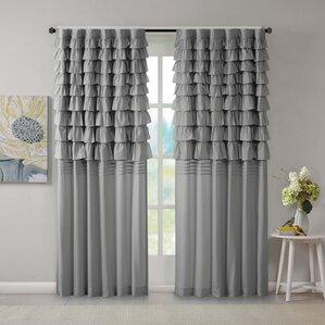 Good Eladia Solid Semi Sheer Rod Pocket Single Curtain Panel