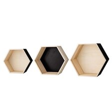 3 Piece Hexagonal Wood Shelf Set by Bloomingville