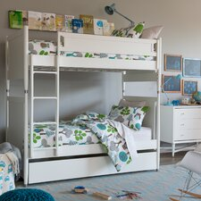 Mid-Century Youth White Bunk Bed with Trundle by DwellStudio