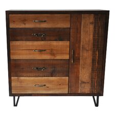 Ouanane 5 Drawer and 1 Door Clean Rustic Chest by Bungalow Rose