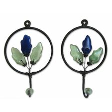 Revival Iron and Recycled Glass Wall Hook (Set of 2) by Bungalow Rose
