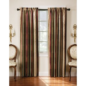 Roseline Striped Semi Sheer Rod Pocket Curtain Panels (Set Of 2)