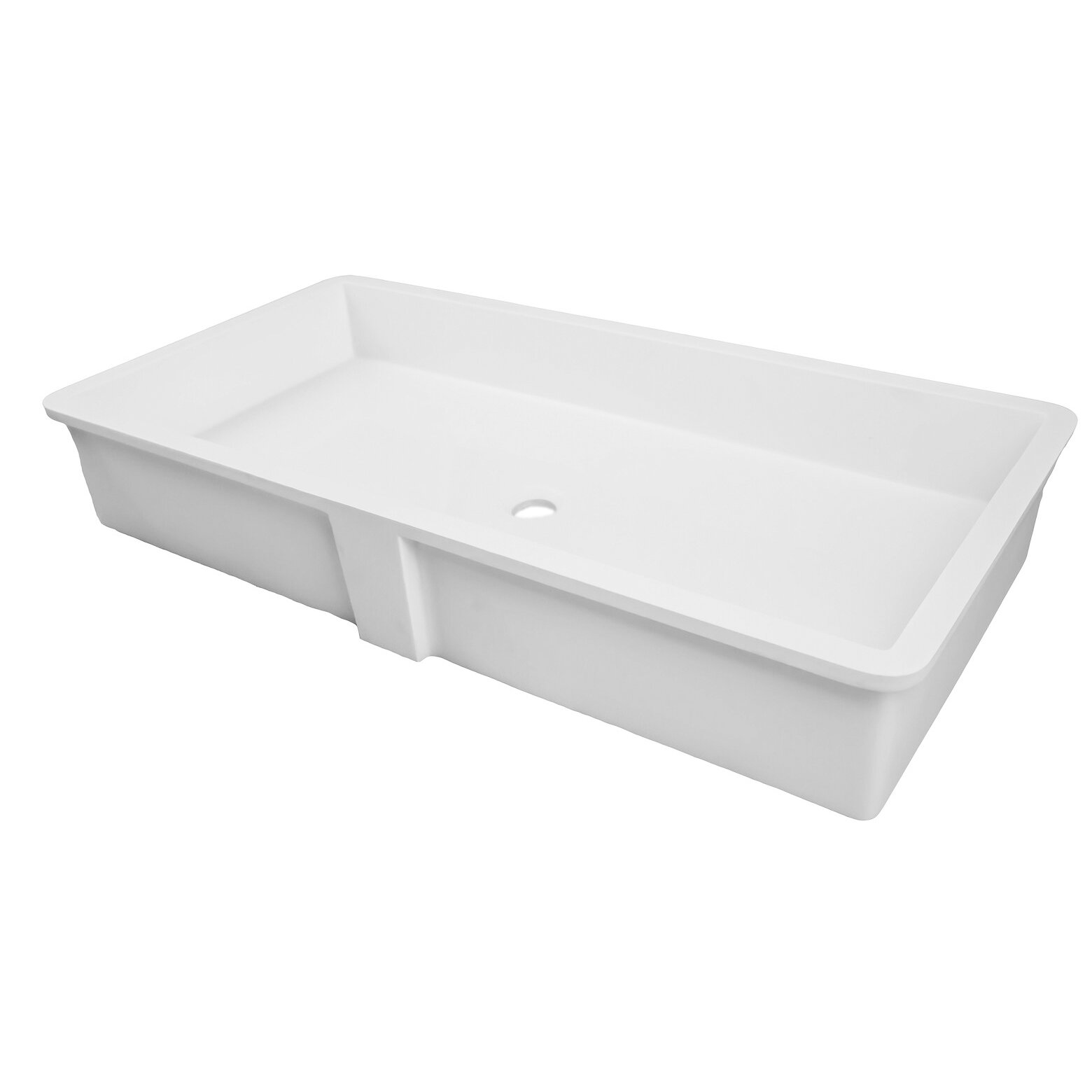 Adm White Countertop Solid Surface Stone Resin Sink Matte Contemporary Bathroom Sinks