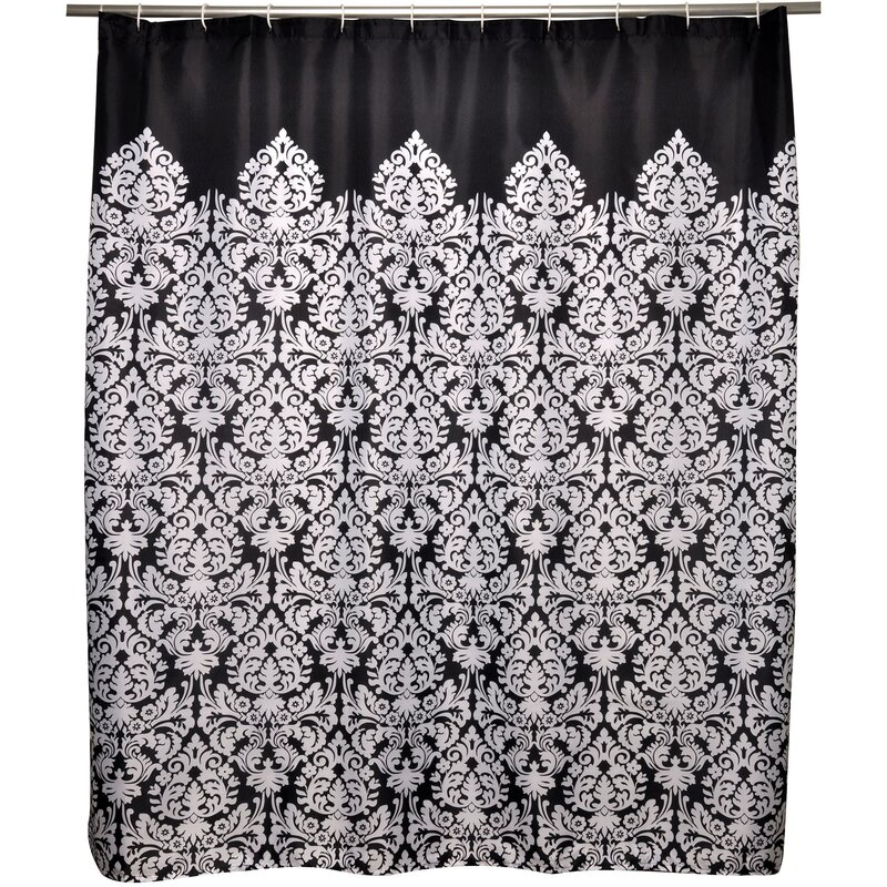 Black And White Damask Shower Curtain black and white damask shower curtain - mobroi