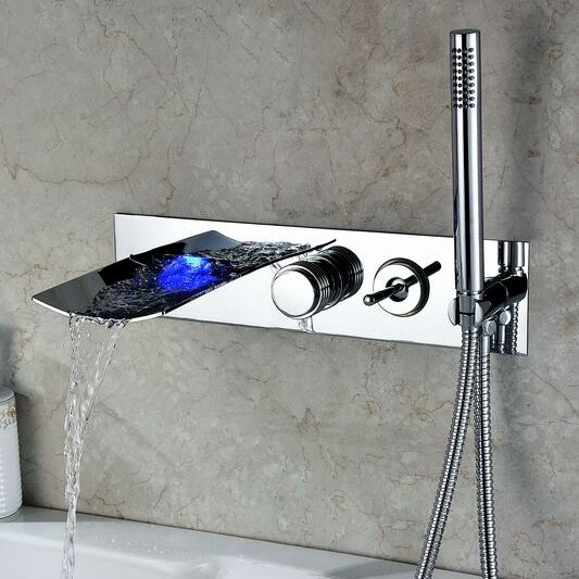 Sumerain Double Handle Wall Mount LED Waterfall Tub Faucet with