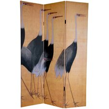 72 x 48 Double Sided Cranes 3 Panel Room Divider by Oriental Furniture