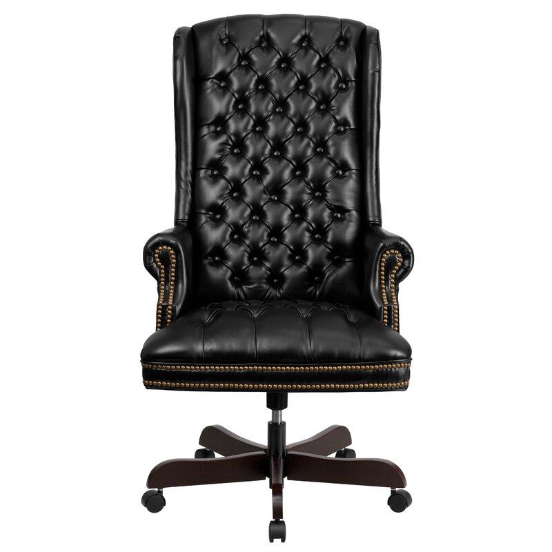 Canora Grey Bellin Clark Leather Executive Chair Reviews Wayfair