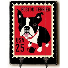 Boston Terrier Leash Planked Wood Wall Mounted Coat Rack by Andover Mills