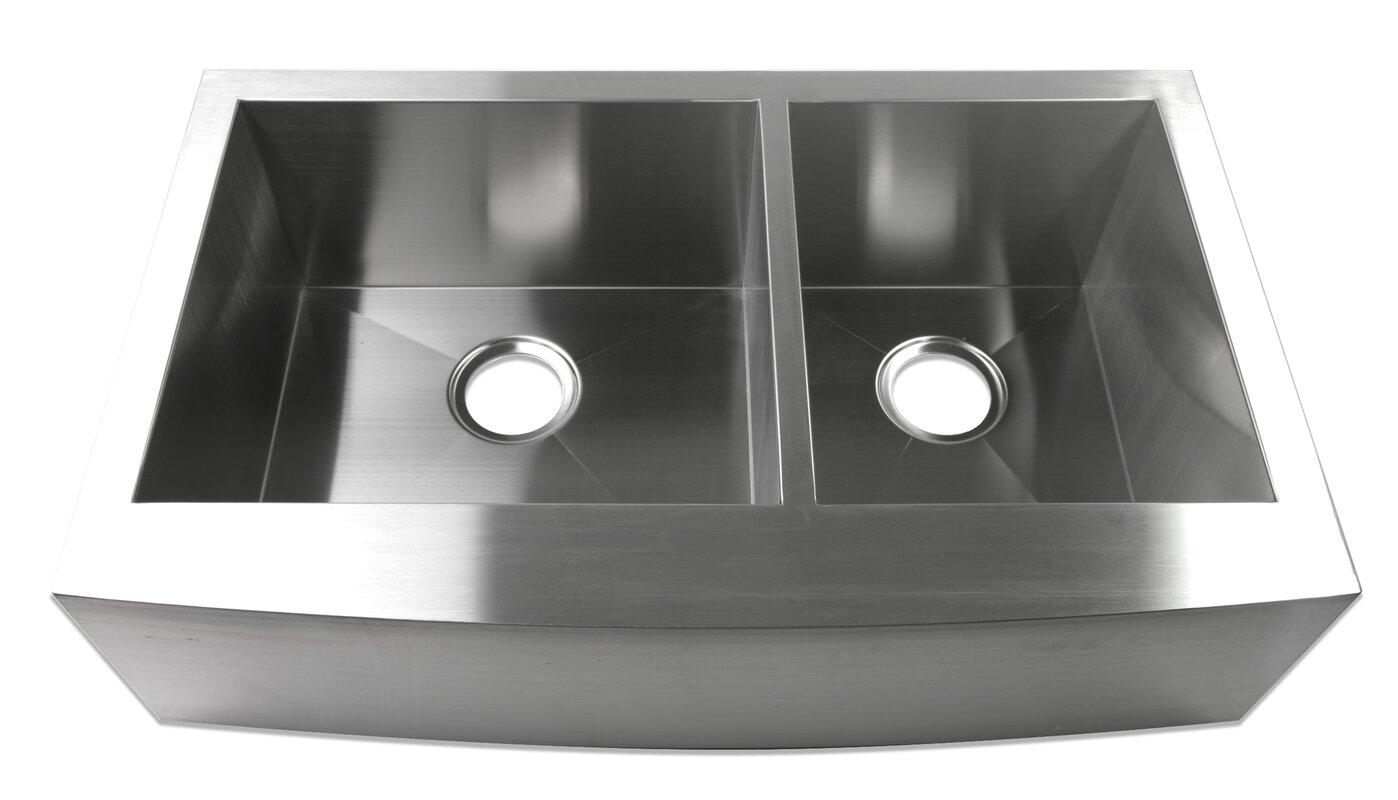 luxier  x  farmhouse apron  offset double bowl  - defaultname