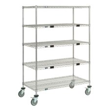 Standard Duty Wire Exchange and Linen Transport Truck 5 Shelf Shelving Unit by Nexel