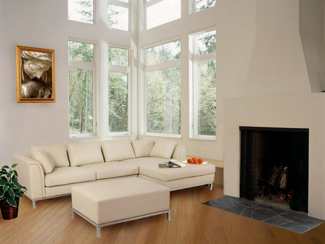 Beliani 3 Piece Leather Living Room Set & Reviews | Wayfair
