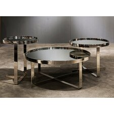 Patterson Contemporary Mirrored 3 Piece Coffee Table Set by Wade Logan
