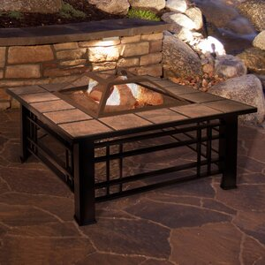 Square Tile Steel Wood Burning Fire Pit Table by Pure Garden