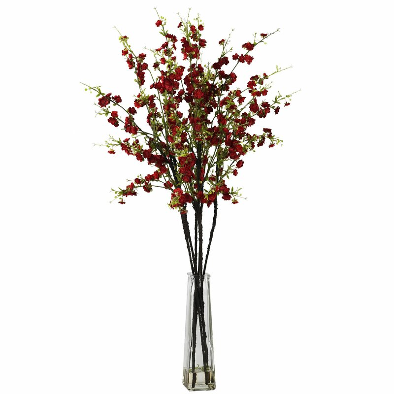 nearly natural cherry blossoms with vase silk flower arrangement