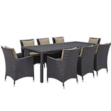 Hermanson 9 Piece Outdoor Patio Dining Set With Cushions