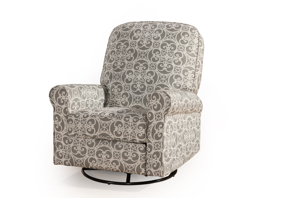 Little castle transition white leather swivel glider - Ruby Swivel Reclining Glider
