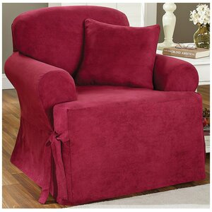 Soft Suede Armchair T-Cushion Slipcover by Sure Fit