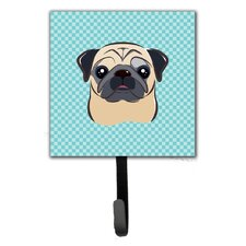 Checkerboard Fawn Pug Wall Hook by Caroline's Treasures