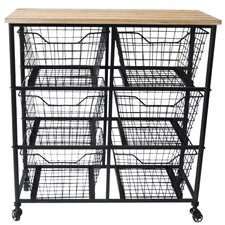 6 Wire Drawer Wood Top Storage Cabinet by Cheungs