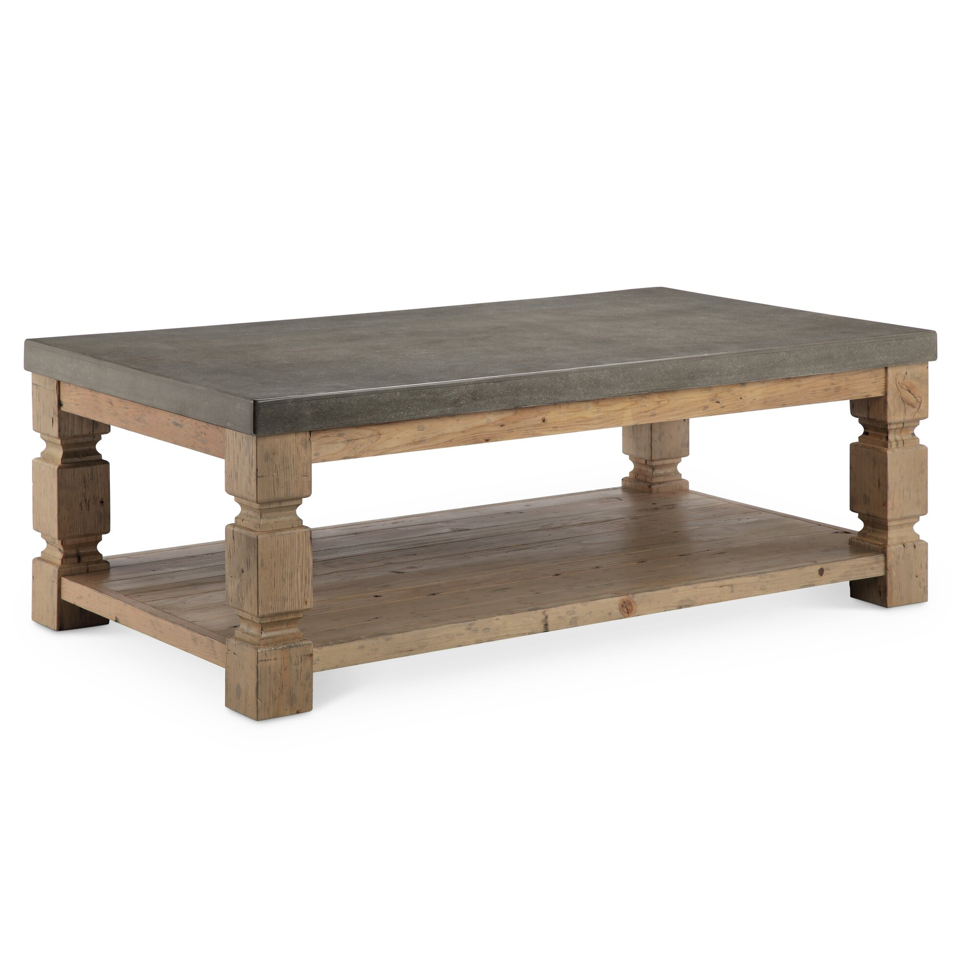 cozy distressed wood coffee table