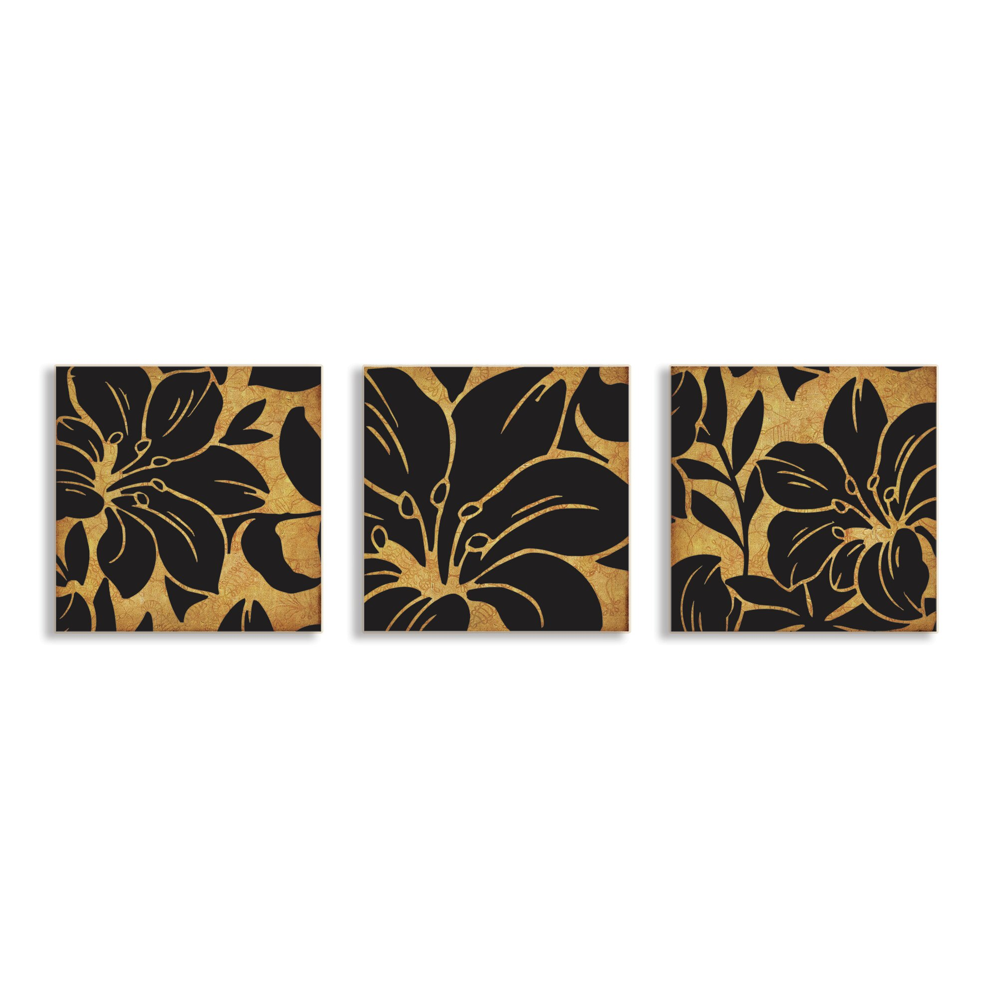 stupell industries floral print 3 piece canvas wall art. Black Bedroom Furniture Sets. Home Design Ideas