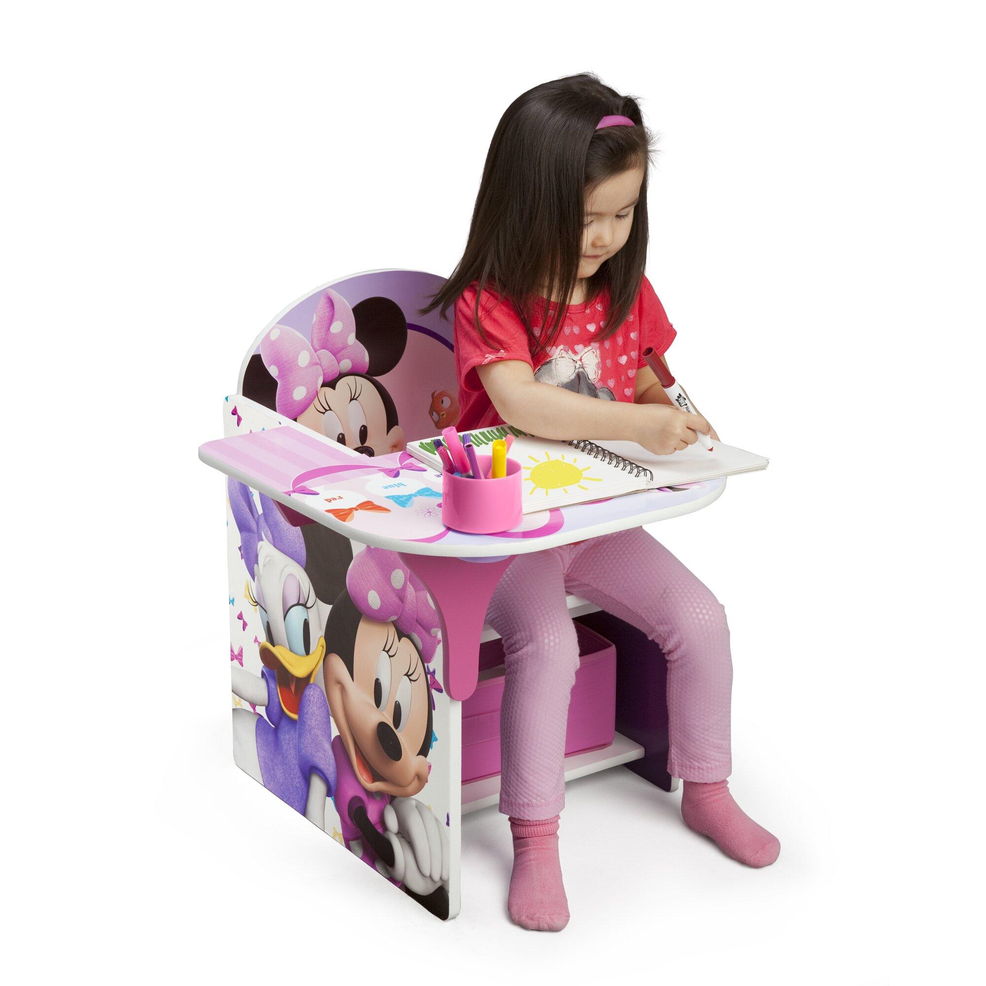 Delta Children Minnie Kids Desk Chair with Storage Compartment and