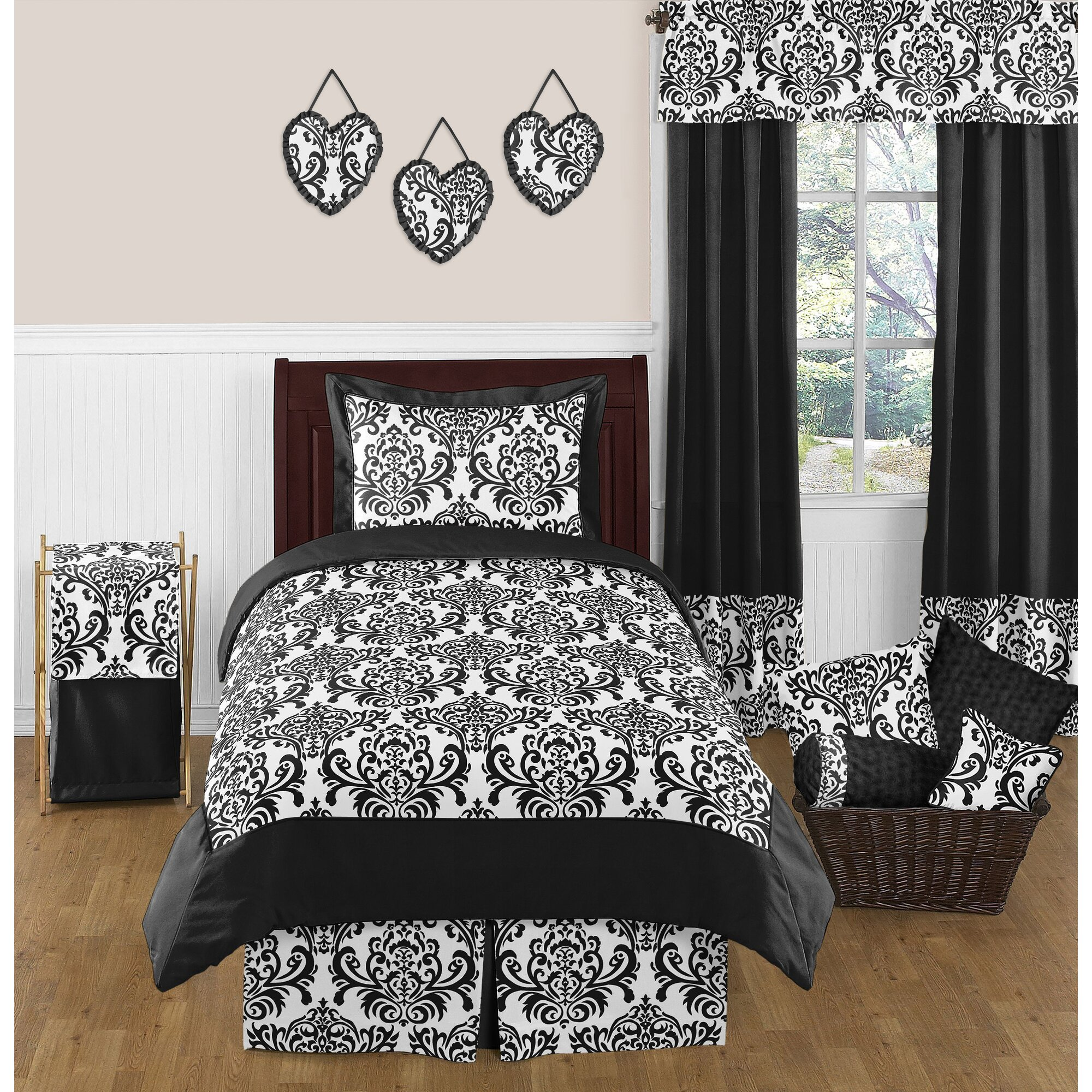 Bed sheet set black and white - Isabella 4 Piece Twin Comforter Set