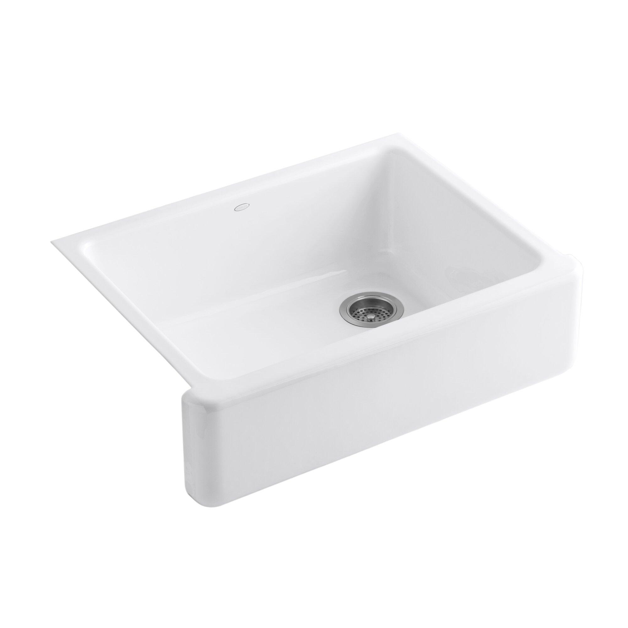 "Kohler Whitehaven 29 69"" x 21 69"" Farmhouse Single Bowl Kitchen Sink & Reviews"