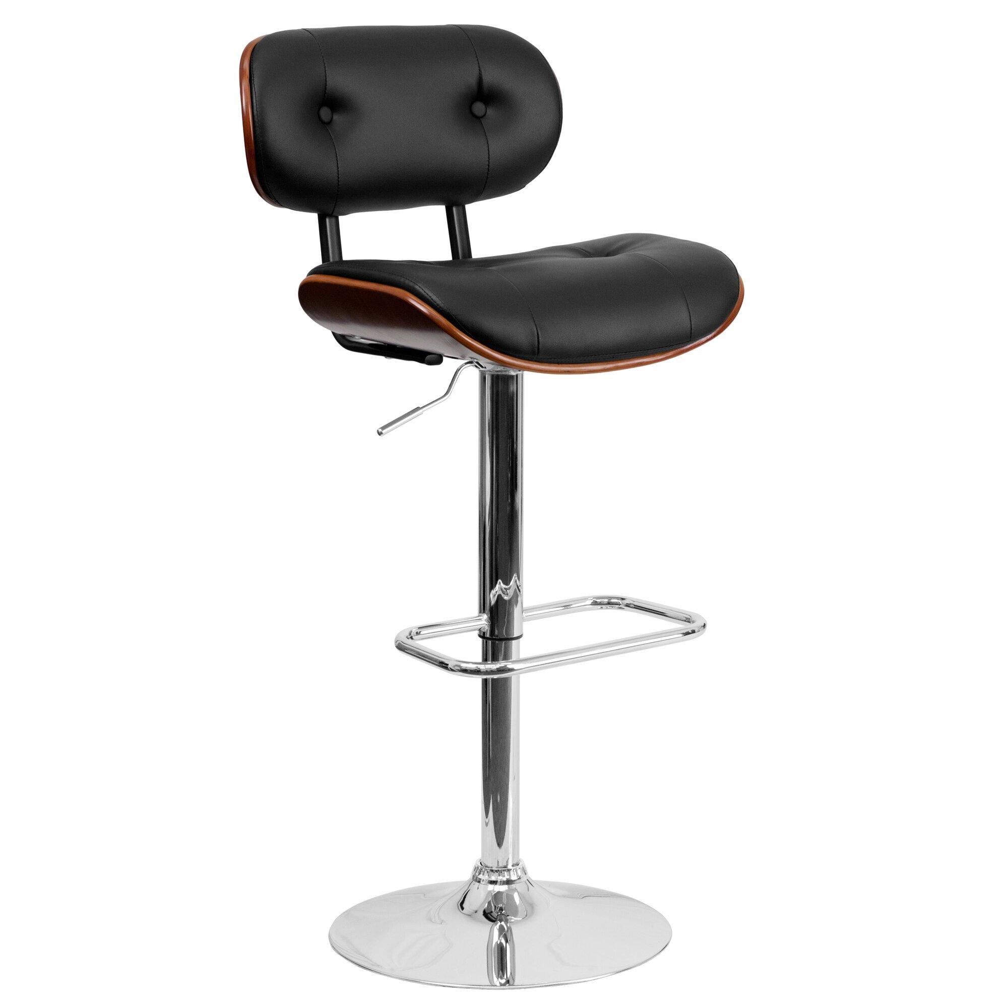 Flash Furniture Walnut Bentwood Adjustable Height Swivel Bar Stool ...