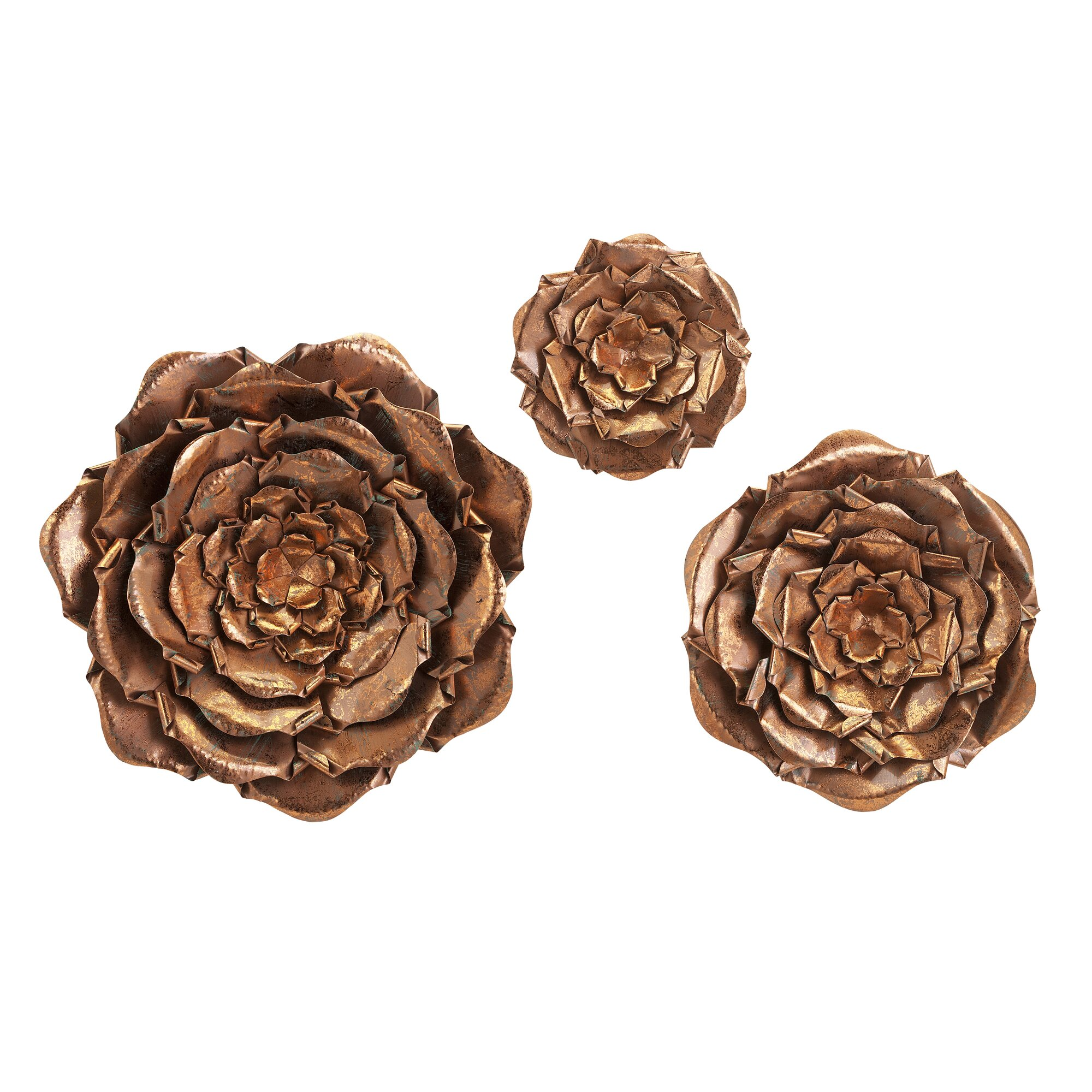 3 piece blayney metal flower wall dcor set - Metal Flower Wall Decor