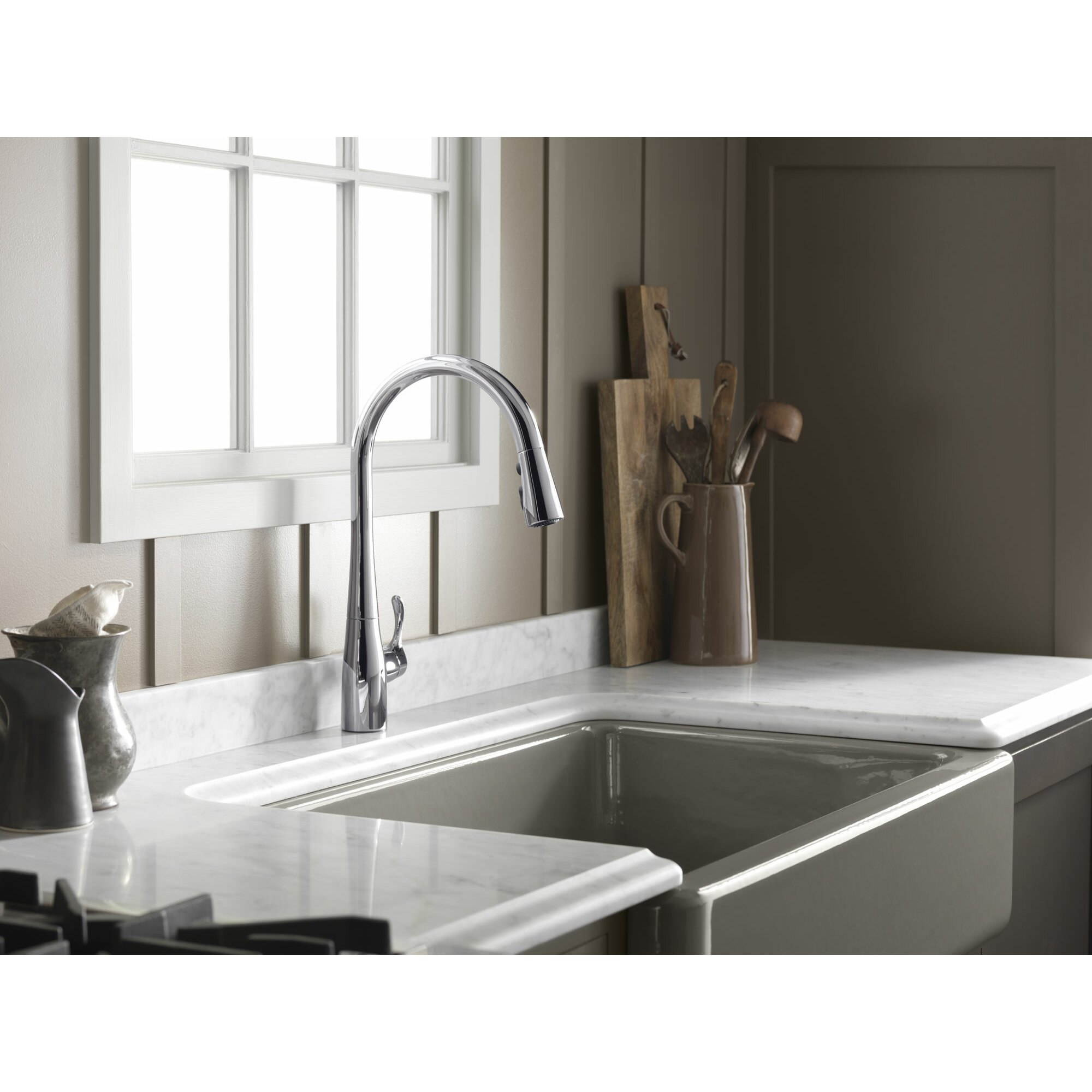 High end kitchen sink faucets - Simplice Kitchen Sink Faucet With 16 5 8 Pull Down Spout