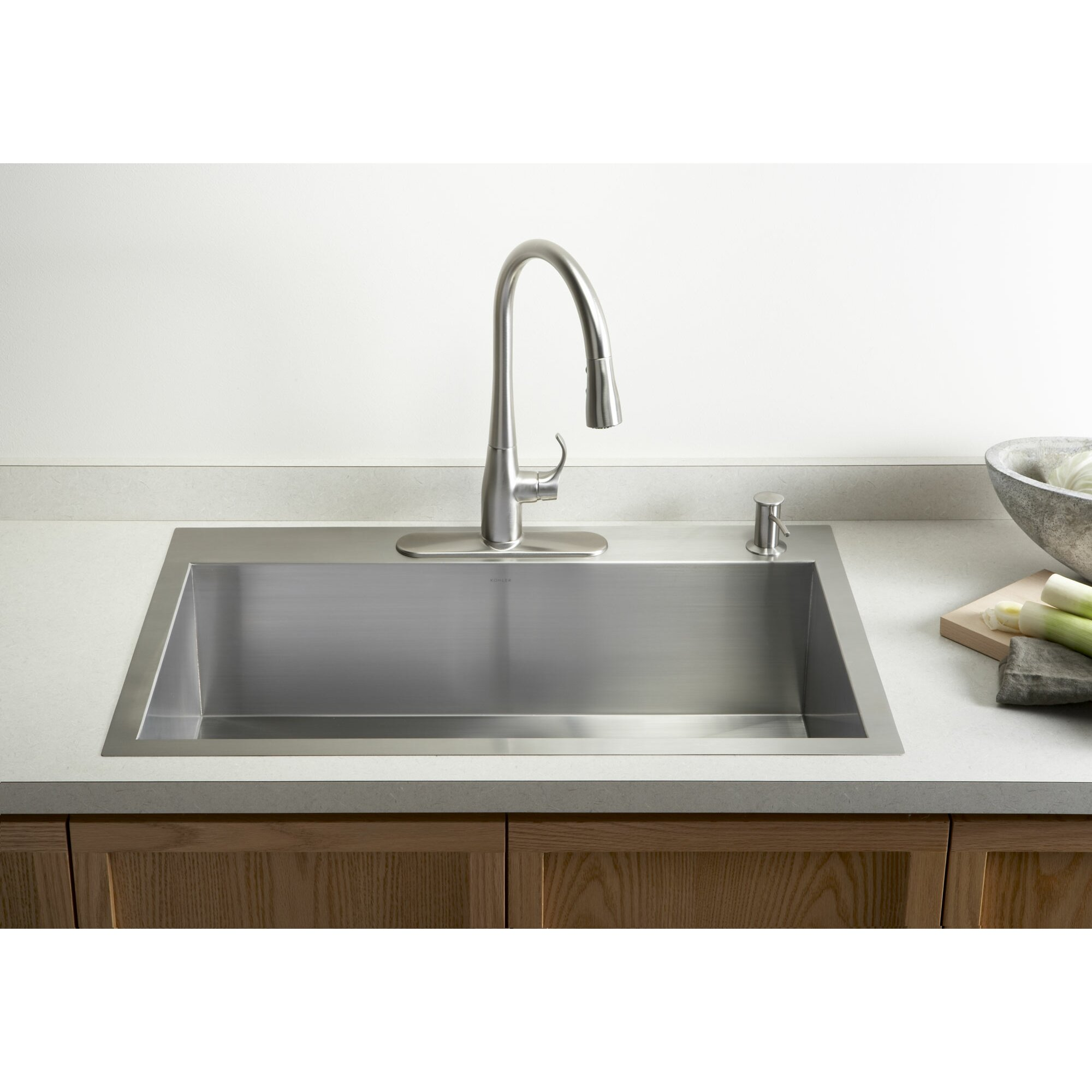 Kohler vault 33 x 22 x 9 5 16 top mount under mount for Best faucets for kitchen sink