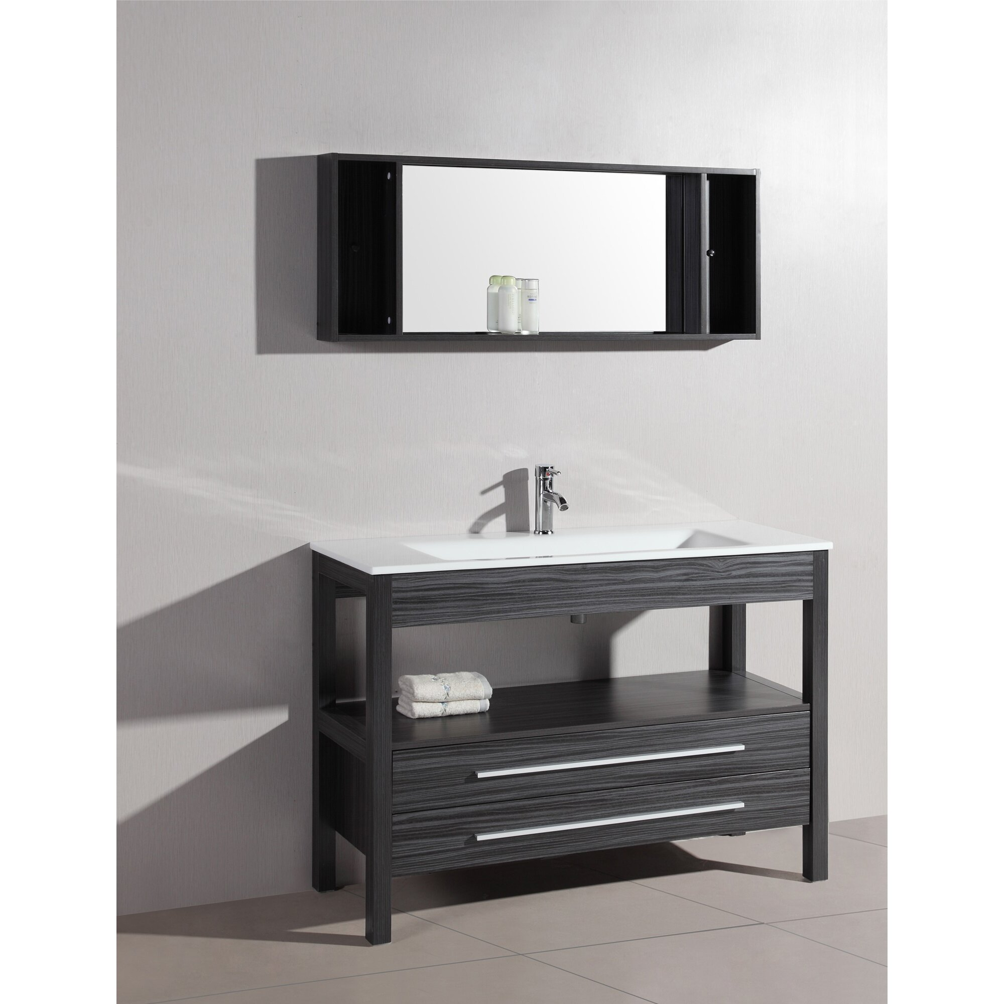 Contemporary 48 Single Bathroom Vanity Set With Mirror