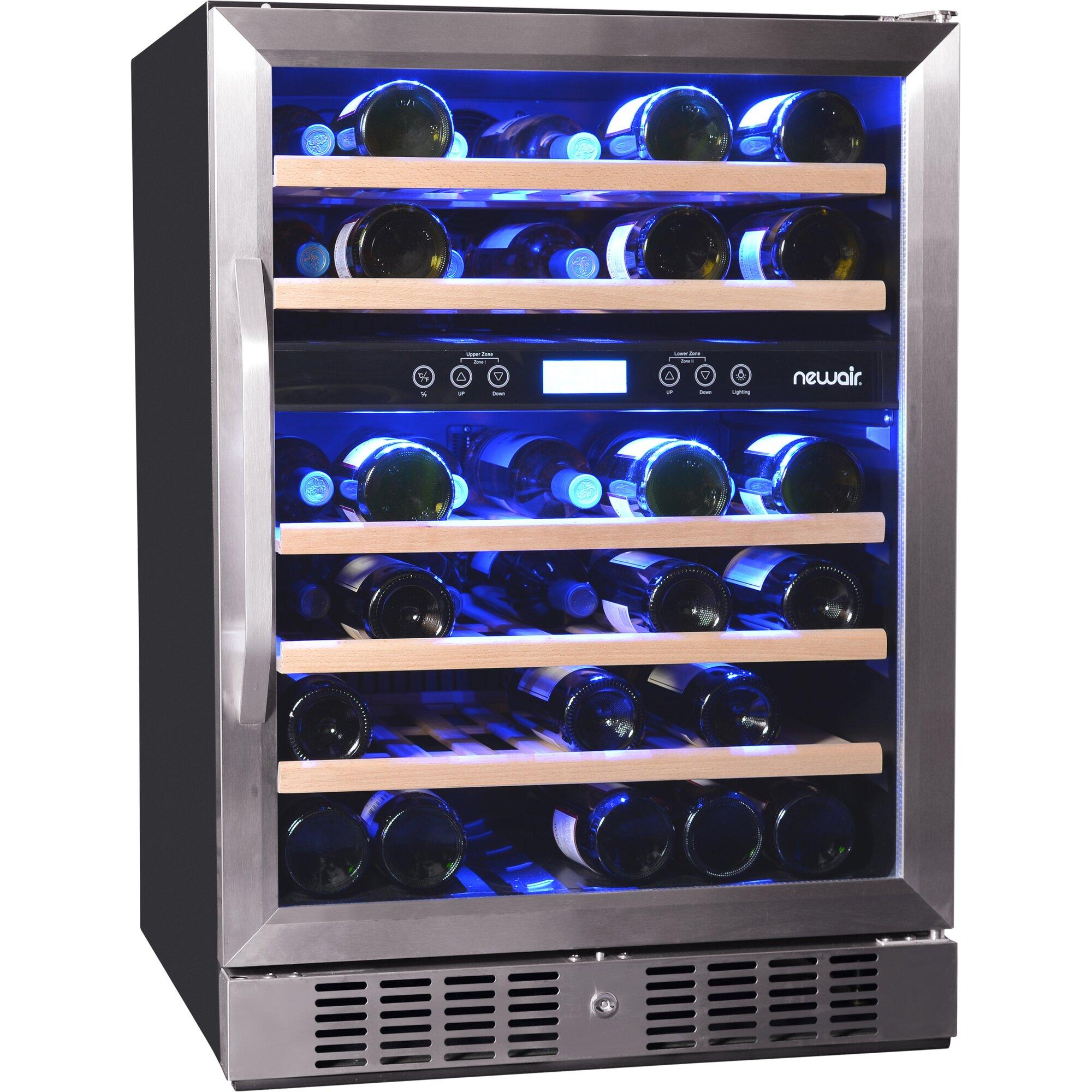 newair 46 bottle dual zone convertible wine cooler reviews wayfair. Black Bedroom Furniture Sets. Home Design Ideas