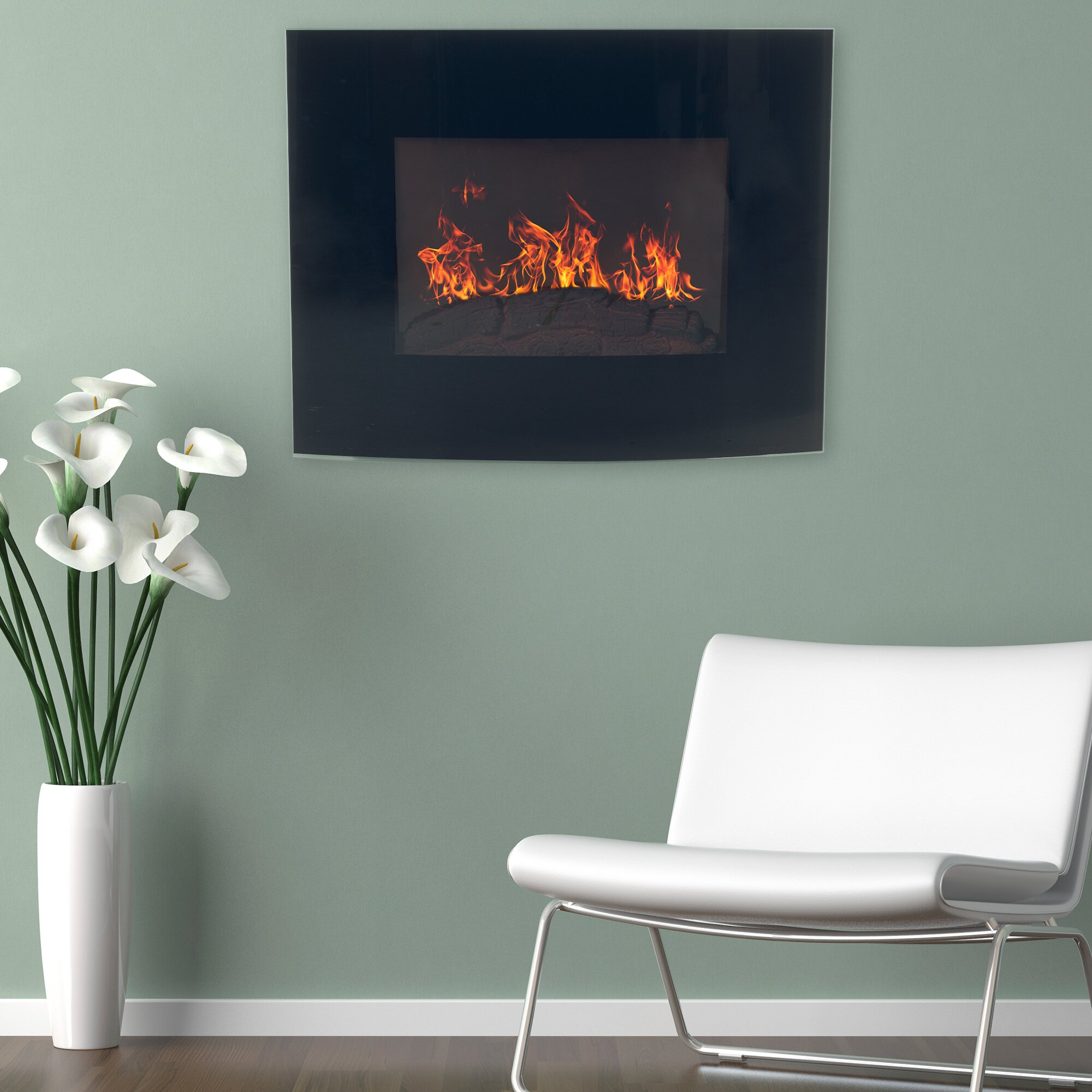 Northwest curved wall mount electric fireplace reviews for Curved wall