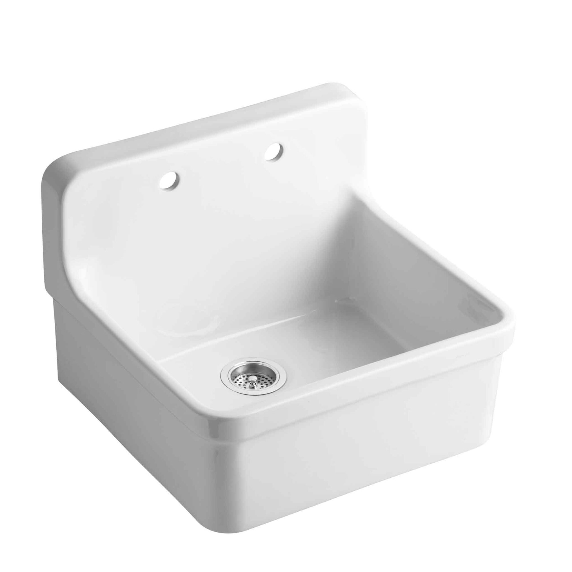 kohler gilford 24 x 22 x 9 12 wall mounttop mount single bowl kitchen sink reviews wayfair - White Single Basin Kitchen Sink