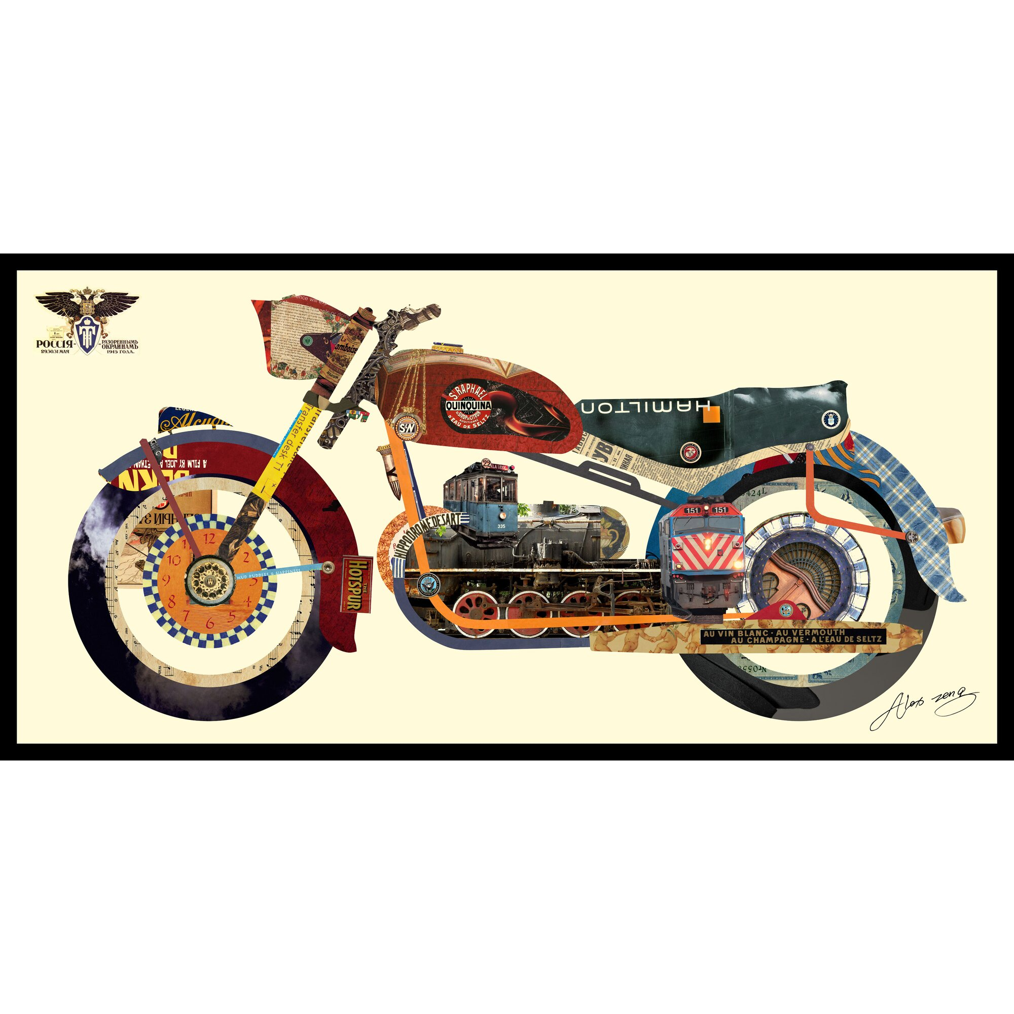 Harley color carpet tiles - Holy Harley Motorcycle Dimensional Collage Hand Signed By Alex Zeng Framed Graphic Art