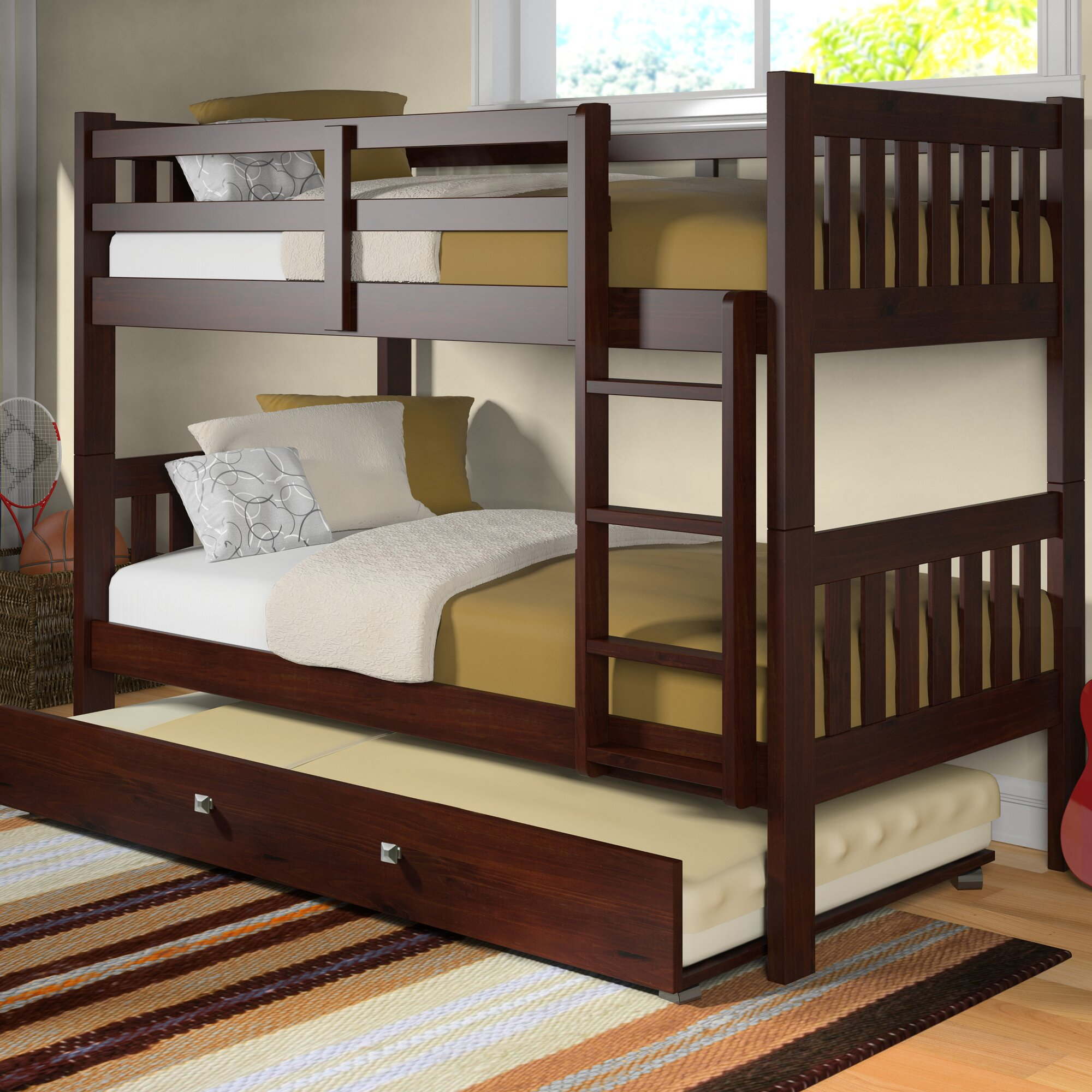 Donco Kids Washington Twin Bunk Bed with Trundle & Reviews | Wayfair
