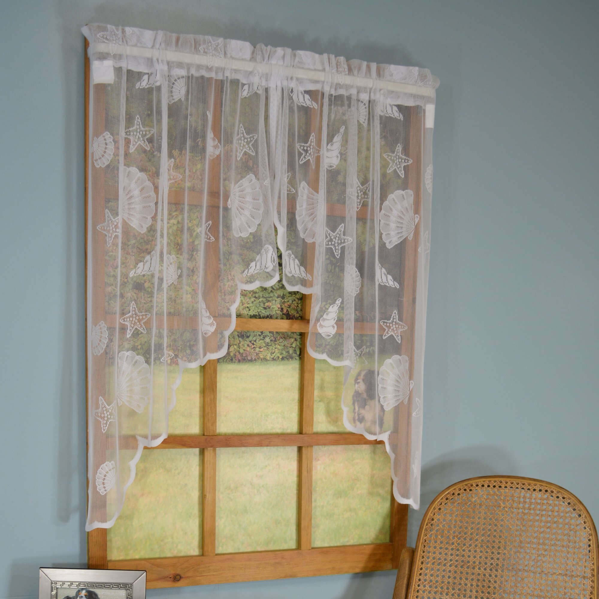 Curtain Chic Seashell Lace Nautical Sheer Rod Pocket